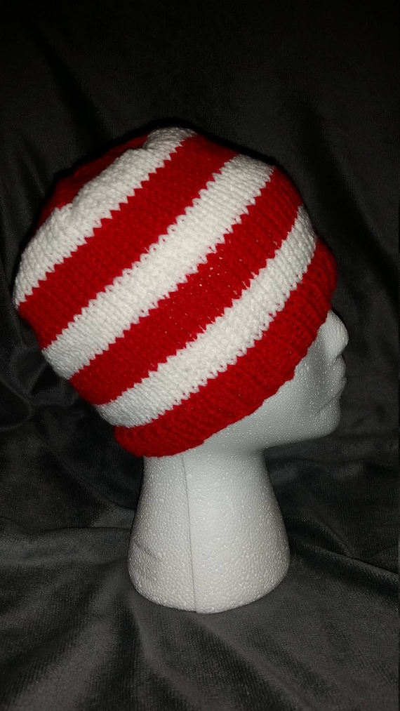 Hand Knit Red and White Striped Beanie  1ac176d7891