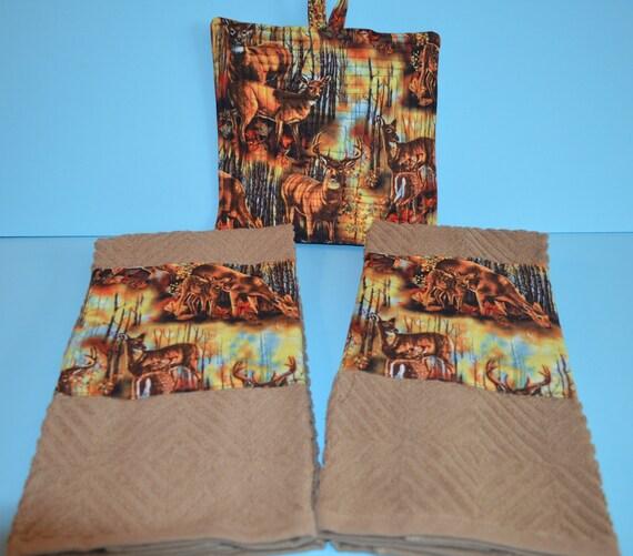 Deer Themed Kitchen Towel Quilted Potholder Set