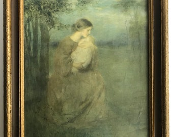 Beautiful Antique Framed Artwork of Mother and Child / French Realism 19th century painting print / Artist: Francis Day Ana