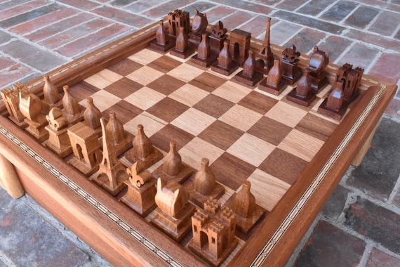 Paris Chess Set Handmade Chess Set Wooden Chess Made To Etsy