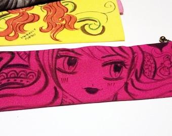 Pencil Case, Manga Pencil Case, Hand Painted Pencil Case, Hand Drawn Pencil Case, Hand Drawn Manga, Pencil Case