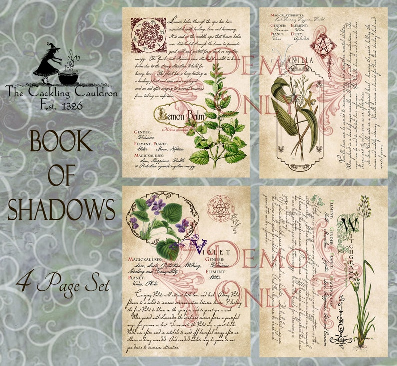 Grimoire, Spell, Herbs and Book of Shadows Pages, Practical Magic