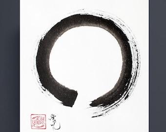 Zen Circle original painting - option for custom calligraphy
