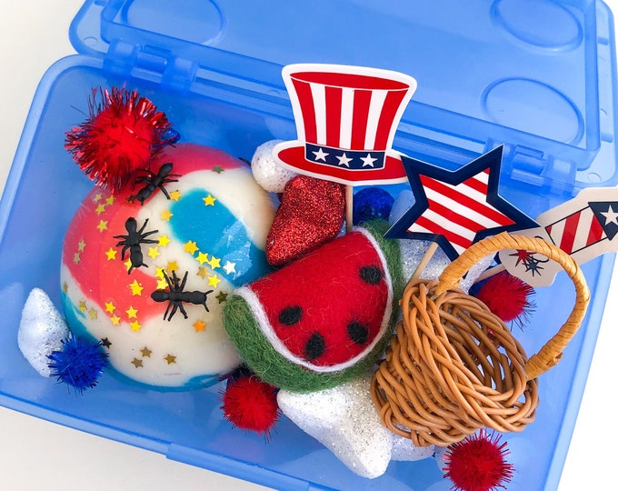 Americana Play Dough Kit | Fourth of July Sensory Kit | USA Sensory Kit | Summer Kit Patriotic Toy | Kids Gift | Busy Box | Open Ended Toy