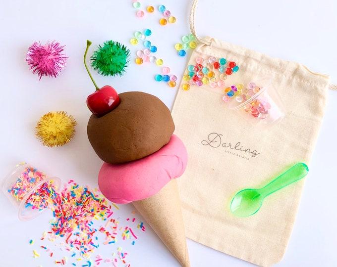 Ice Cream Mini Play Dough Kit | Playdough Kit | Sensory Kit | Play Food | Pretend Ice Cream | Open Ended Toy