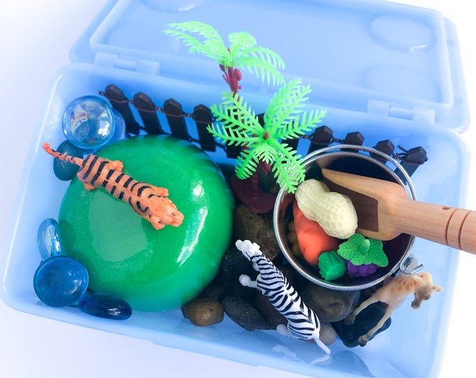 Zoo Play Dough Kit | Playdough Kit | Sensory Kit | Animal Sensory Bin | Busy Box | Montessori Toy | Open Ended Toy
