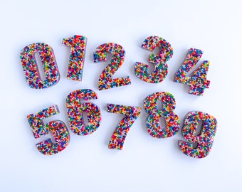 Resin Sprinkle Numbers | Sensory Bin Numbers | Epoxy Numbers | Playdough Stamp | Play Dough Stamp | Sensory Tools