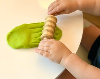 Textured Rolling Pin | Pattern Dough Roller | Sensory Play Tool