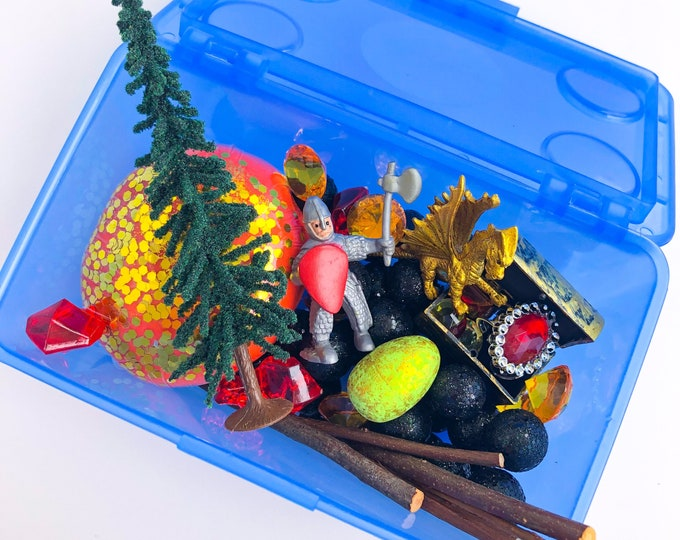 Knights and Dragons Play Dough Kit | Knight Playdough Kit | Dragon Sensory Kit | Medieval Toy | Boys Toy | Open Ended Toy