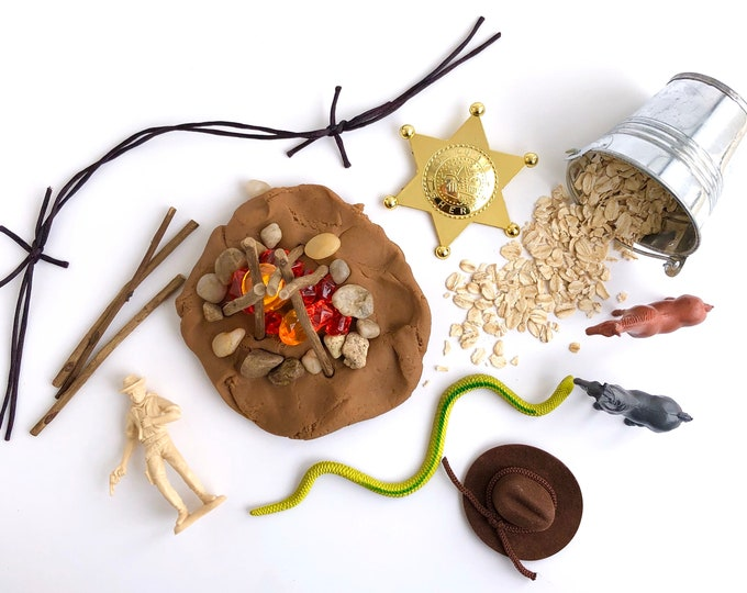 Wild West Play Dough Kit | Playdough Kit | Sensory Kit | Cowboy Toy | Cowgirl Toy | Open Ended Toy