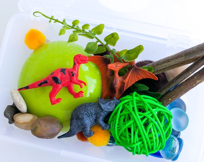 Dinosaur Play Dough Kit | Playdough Kit | Sensory Kit | Dino Toy | Busy Box | Montessori Toy | Open Ended Toy
