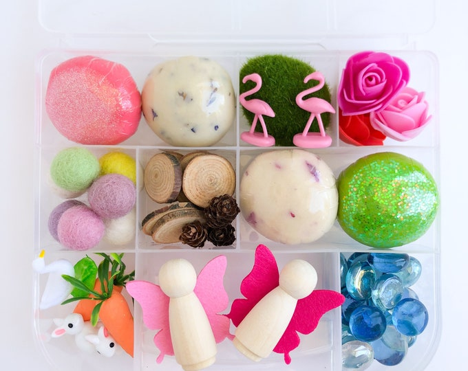 Fairy Garden Deluxe Play Dough Sensory Kit | Fairy Playdough Kit | Busy Box | Montessori Toy | Open Ended Toy | Playdough Sensory Bin