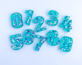 Mermaid Vibes Resin Numbers | Sensory Bin Numbers | Epoxy Numbers | Playdough Stamp | Play Dough Stamp | Sensory Tools | Sensory Kit Tool