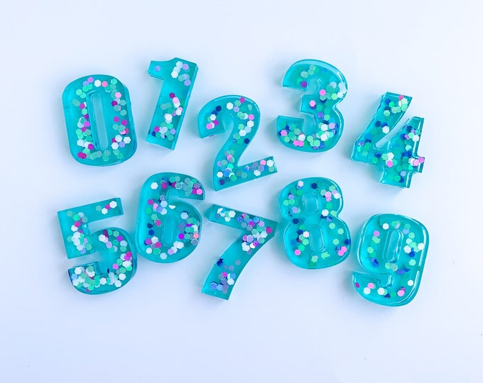 Mermaid Vibes Resin Numbers | Sensory Bin Numbers | Epoxy Numbers | Playdough Stamp | Play Dough Stamp | Sensory Tools | Sensory Kit Tool