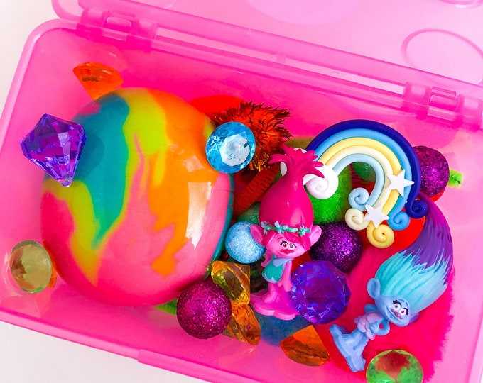 Trolls Play Dough Kit | Trolls Inspired Playdough Kit | Troll Playdough Sensory Kit | Trolls Toy | Trolls Gift | Busy Box | Open Ended Toy