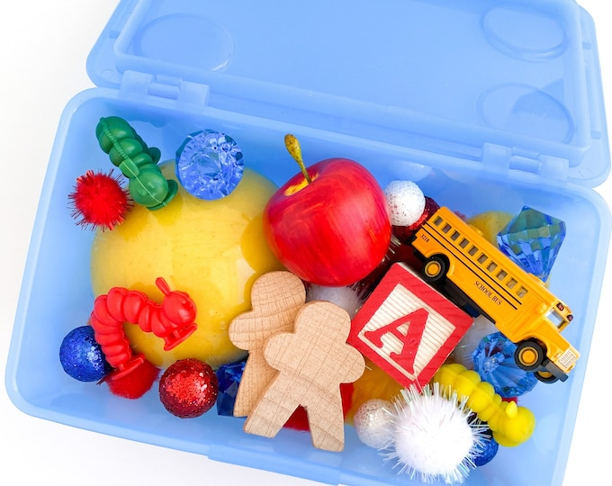 Back to School Play Dough Kit | Fall Playdough Sensory Kit | School Sensory Bin Toy | School Bus Toy | Open Ended Toy | Busy Box