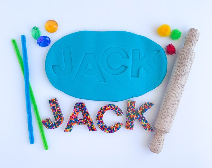 Personalized Name Play Dough Kit | Custom Play Dough Sensory Kit | Epoxy Name Playdough Kit | Resin Letters Sensory Kit | Busy Box