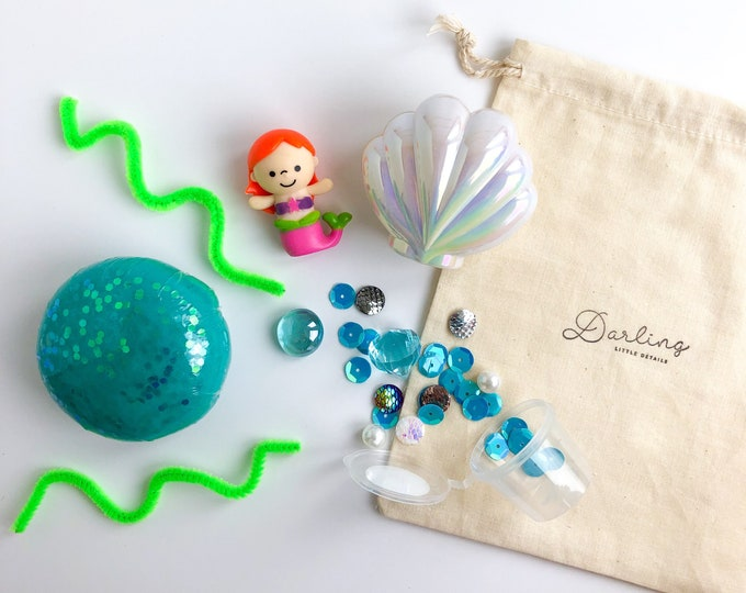 Mermaid Mini Play Dough Kit | Playdough Kit | Sensory Kit | Mermaid Toy | Busy Bag | Girls Toy