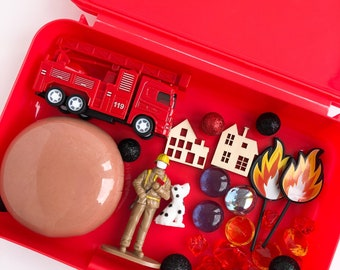 Firetruck Play Dough Sensory Kit | Firetruck Playdough Kit | Fire Sensory Kit | Fire Truck Play Dough Kit | Busy Box | Open Ended Toy
