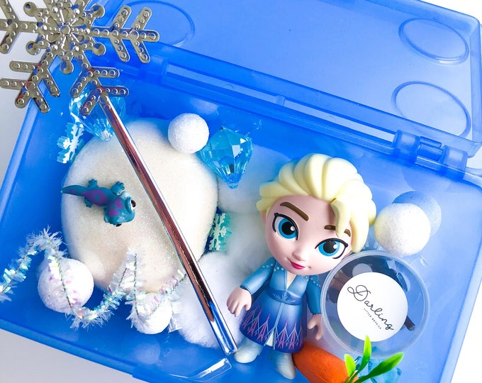 Elsa Play Dough Kit | Frozen Sensory Kit | Princess Playdough Sensory Kit | Queen Elsa Playdoh Kit | Bruni | Snow Kit | Open Ended Toy