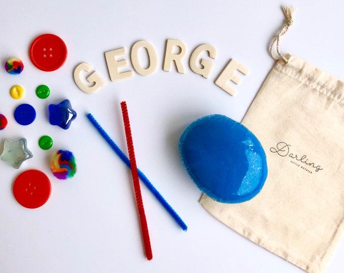 Primary Custom Name Mini Play Dough Sensory Kit