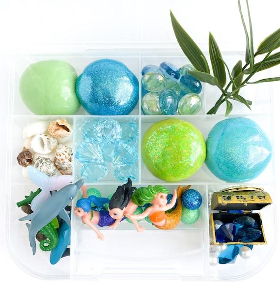 Mermaid Signature Play Dough Sensory Kit | Sea Playdough Sensory Kit | Busy Box | Montessori Toy | Open Ended Toy
