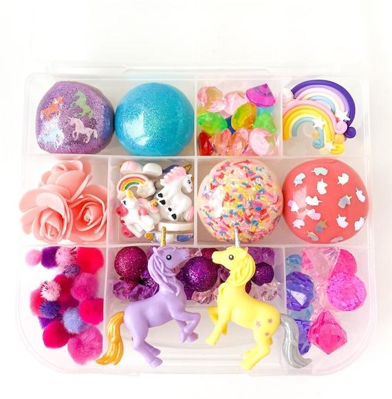 Unicorn Signature Play Dough Sensory Kit | Glitter Playdough Sensory Kit | Rainbow Busy Box | Montessori Toy | Open Ended Toy