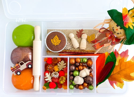 Thanksgiving Deluxe Play Dough Sensory Kit | Fall Playdough Sensory Kit | Fall Turkey Kit | Autumn Sensory Bin | Open Ended Toy | Montessori