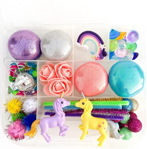 Unicorn Disco Signature Play Dough Sensory Kit | Glitter Playdough Sensory Kit | Rainbow Busy Box | Montessori Toy | Open Ended Toy