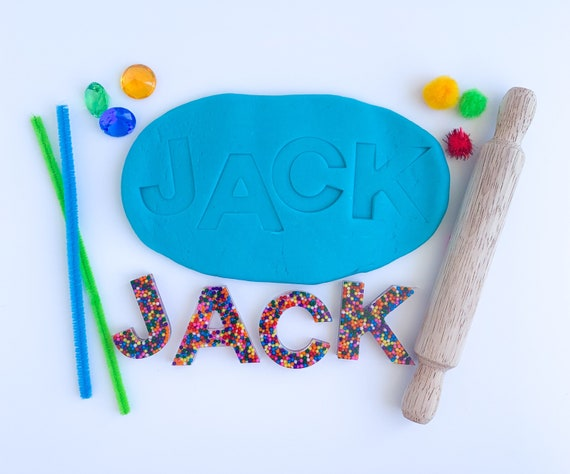 Personalized Name Play Dough Kit | Custom Play Dough Sensory Kit | Epoxy Name Playdough Kit | Resin Letters Sensory Kit | Busy Box