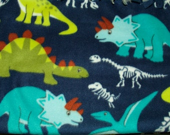 Dinosaurs No-Sew Throw Blanket Pink and Teal Purple Fleece Hand Made Little Girl Dino