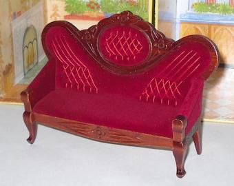 Vintage Salesman Sample Love Seat Miniature Doll Size Settee Sofa 15.5 inches
