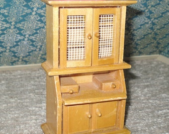 Miniature dollhouse vintage wooden hutch with built in desk