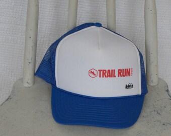 9daaf4e5 Blue and White 'REI' Trail Run Snapback Trucker Cap / Mesh Hat / Baseball  Cap