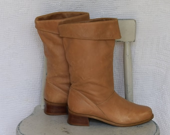Caramel Leather 'Markon' Mid Calf Boots / Slouch Boots with Fold Over Top and Stacked Heel - Women's 8