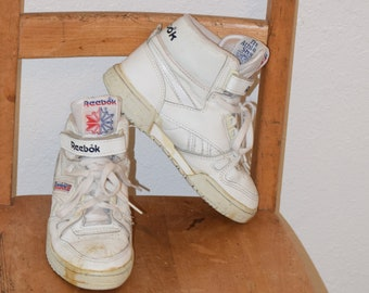 6c6b2a30a5c White Leather Hi Top 1980 s  Reebok Athletes  The Athletes Shoe Tennis Shoes  - Kids   Childrens 3 1 2   Womens Extra Small Shoe