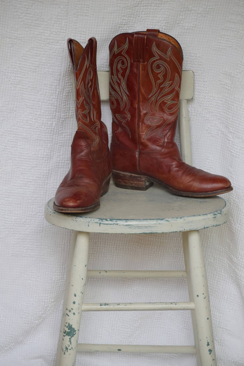 99a8f7e5156 Brown Leather Feather Stitched 'Tony Mora' / Made in Spain Cowboy Boots -  Men's 10 1/2