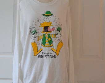 White St Patrick's Day / Irish Attitude Sweatshirt by 'Air Waves Inc.'  - Extra Large