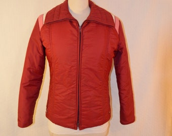 Maroon and Pink Color Blocked 100% Down 'Roffe' Ski Jacket - S to M