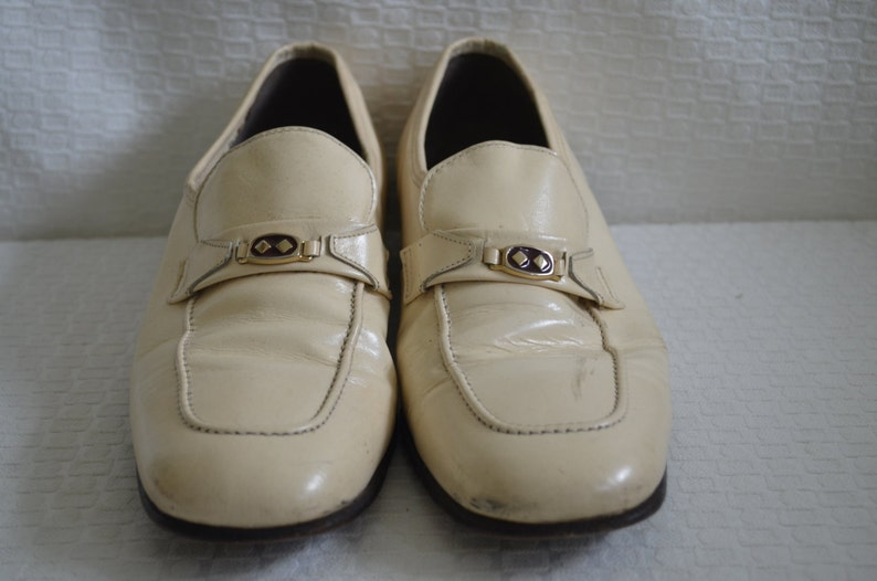 Cream Patent Leather Slip On Loafers  Rat Pack Shoes  Mid Century Men/'s Loafers  Cosplay Shoes Men/'s 8 12