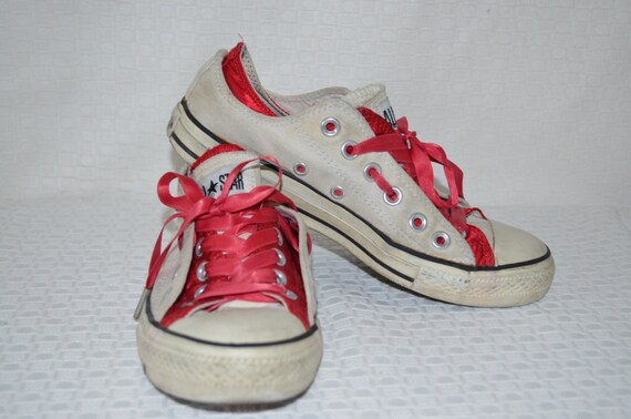Ankle Canvas and Red Satin Converse