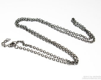 "36"" Gunmetal Plated Chain - 2.5mm Cable Chain - Economical Long Gun Metal Chain - Complete Necklace Chain with Clasp - Ships from USA"