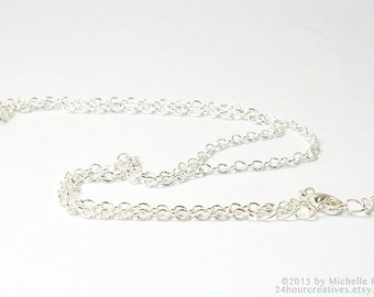 "18"" Silver Plated Chain - 2.5mm Cable Chain - Economical Plated Silver Chain - Complete Necklace Chain with Clasp - Ships from USA"