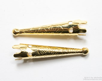 Gold Bolo Tips with Stamped Floral Design - Blank Bolo Tie Tips - Bola Tips - Gold Plated Brass - Pack of 10 Pcs - Ships FAST from USA