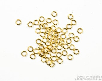 3mm Gold Jump Rings - 3 mm 22 Gauge Gold Plated Brass Jump RIngs - Open Jumprings - Pack of 100 Goldtone Jump Rings - Ships FAST from USA
