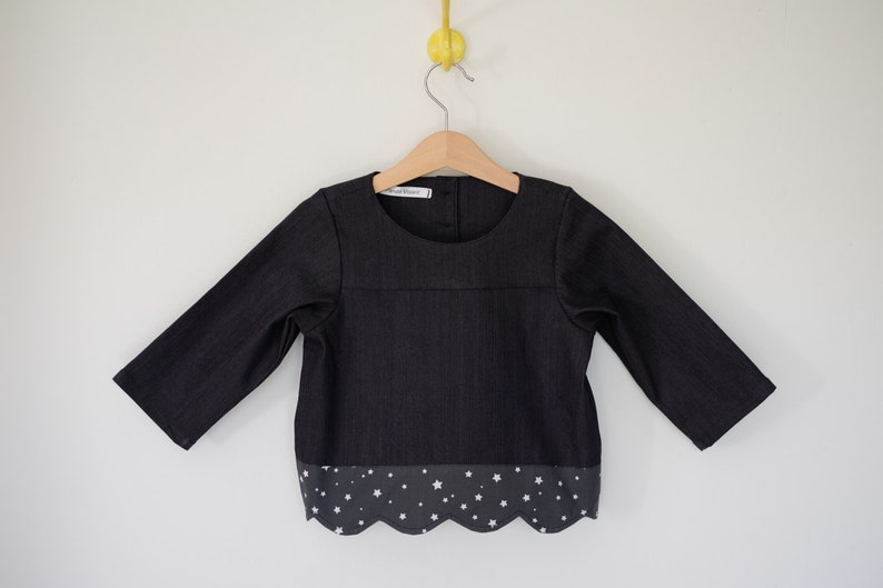 Blouse  daughter  printed tunic  Navy Blue  Star finish image 0