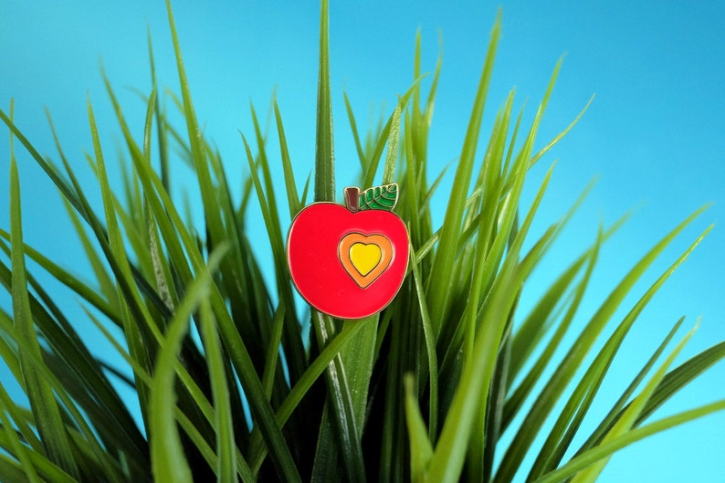 enamel pin. red apple brooch. pin. metal brooch. gift for her. image 0