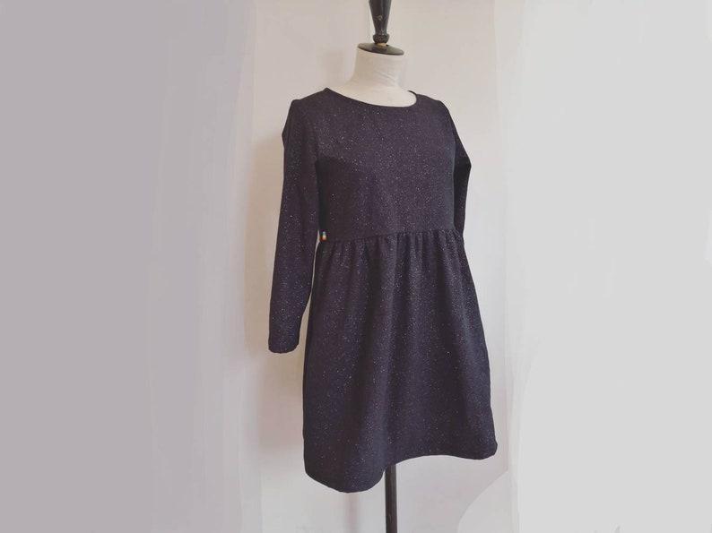 Sweet woman dress. ruffled skirt. organic cotton dress black image 0