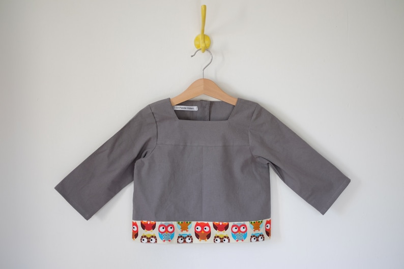 Blouse  blouse  tunic boy  color: gray  printed elephant image 0