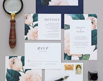 Jardin Wedding Invitation & Correspondence Set / Vintage Garden Florals and Navy Accents / Sample Set